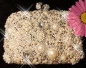 Hand made crystal swarovski diamante and white peaels clutch handbag purse