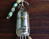 Speaker tube Sterling silver wire encased Pendant necklace with agate, Lapis and turquoise beads and stone