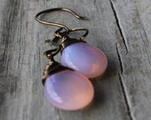 Milky Pink Czech Glass Teardrops Briolettes with Antiqued Brass Wire Wrapped Earrings
