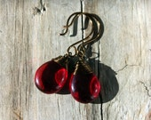 Siam Ruby Wine Red Czech Glass Teardrops Briolettes with Antiqued Brass Wire Wrapped Earrings
