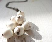 White Howlite Necklace on Antique Brass Chain
