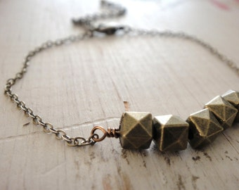 Antique Brass Nugget Bracelet, Minimal Bracelet, Simple Metal Nugget