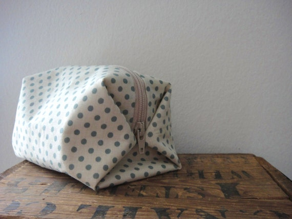 Zippered Box Pouch, Jade Polka Dots Cotton Cosmetic Pouch