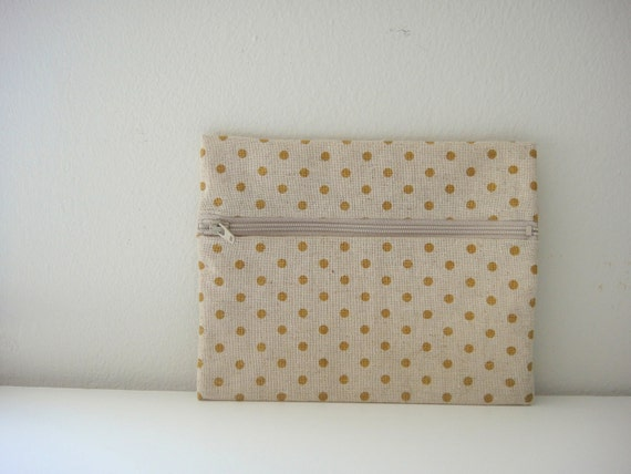 Zippered Pouch, Yellow Polka Dots Cotton Fabric