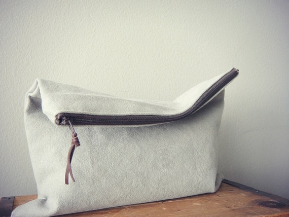 Zipper Pouch, Gray Travel Pouch (Large), Handmade Clutch, LAST ONE