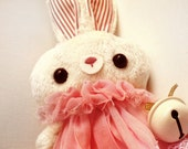 Easter decoration - Bunny doll - limited handmade rabbit plush toy - white bell - pink dress.