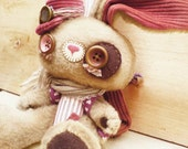 Valentine's decoration - Teddy bunny plush - Valentine's toy - limited handmade woodland plush toy - brown backpack - red pilot cap.