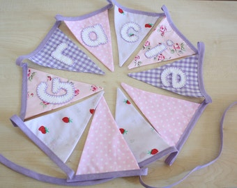 Personalised Bunting- PRETTY PINKS and PURPLES- custom made and hand appliquéd just for you