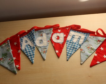 Personalised Bunting- TRAINS, STARS, GINGHAM- custom made and hand appliqued just for you