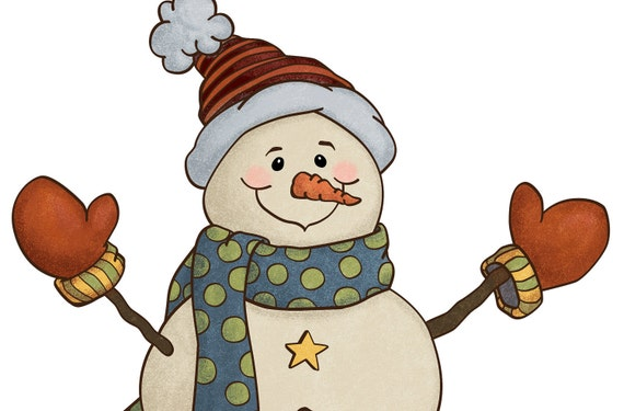 Holiday Snowman Country Style Clip Art Illustration