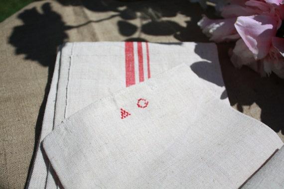 Pair of  Antique European Linen Dish Towels