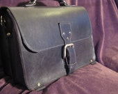 Handmade black leather briefcase