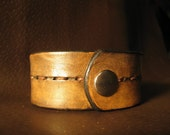 Handmade Antiqued Black Leather Bracelet Cuff with Raised Stitching