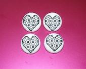 4 x 25mm 'blackwork heart' buttons