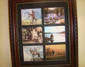 NATIVE AMERICAN INDIAN - 6 miniature reproductions of original paintings in a mat/frame