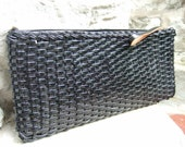 1970s Vintage Vinyl Wicker Clutch Bag