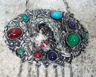 1970s Jeweled Gargoyle Pendant