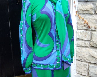 EMILIO  PUCCI 1960s Silk Jersey 2pc Blouse and Skirt