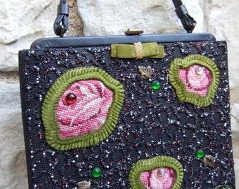 Vintage Beaded Flower Handbag by Soure' New York  c 1960