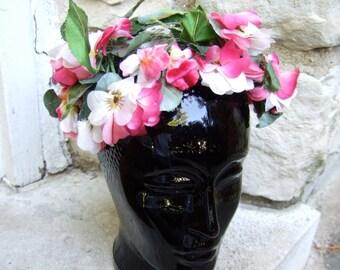 1950s Pink Flower & Leaves Net Hat