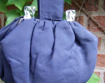 1940s Navy Blue Cloth Handbag with Lucite Detail