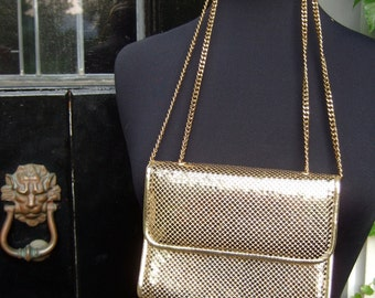 Vintage Whiting & Davis Gilt Chain Mail Handbag  c 1980