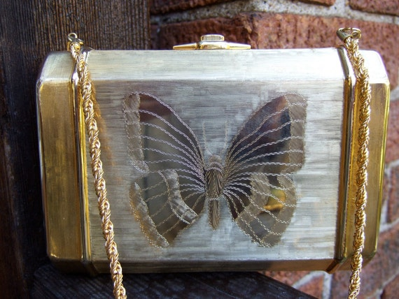 SAKS FIFTH AVENUE Gilt Metal Butterfly evening bag c 1970