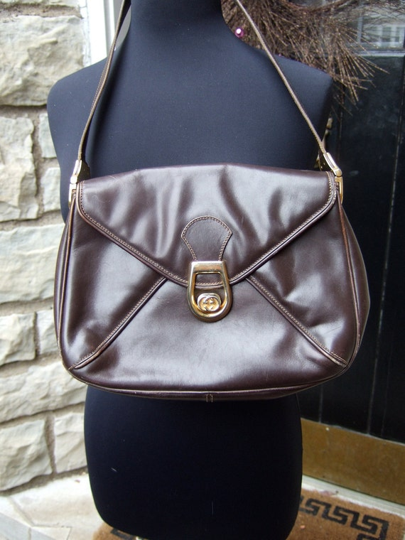 GUCCI Vintage Chocolate Brown Leather Bag c 1970 Genuine