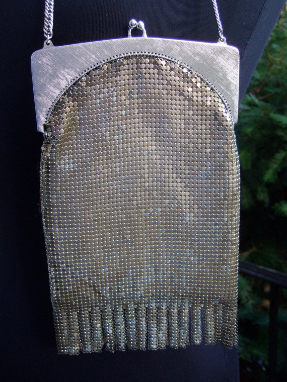 WHITING DAVIS Chain Mail Silver Fringe Evening bag c 1960