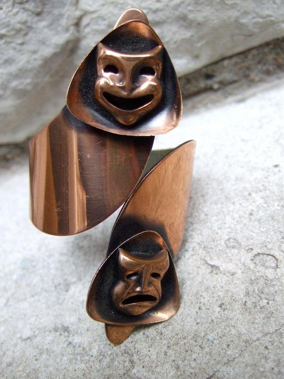 1950s Copper Clamper Bracelet Comedy & Tragedy Mask Design