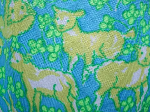 Lilly Pulizter 1970s Whimsical Lamb Print Slacks