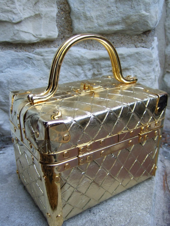 RESERVED for ELENA SALE Chic Vintage Gold Metallic Box Bag