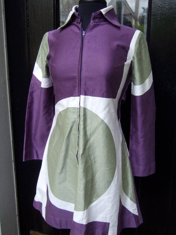 SALE Marimekko Vintage 1970s Op Art Cotton Tunic / Dress
