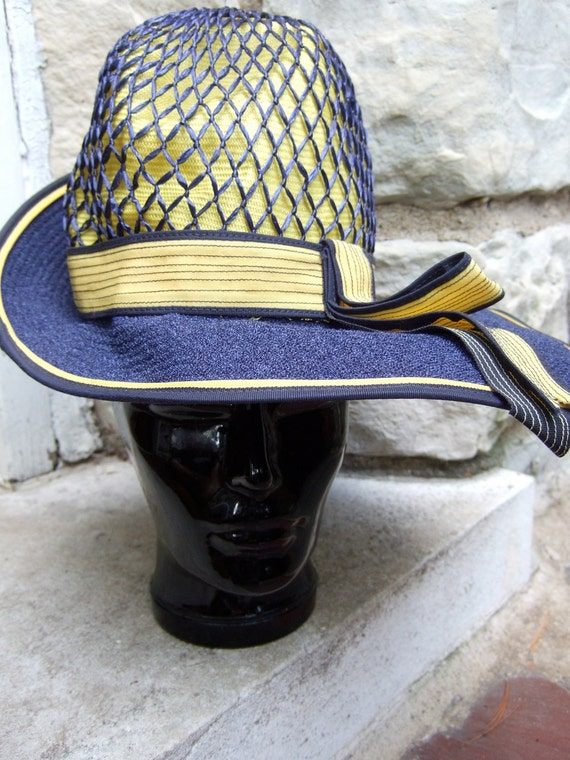 RESERVED for Celina Sale Pending  1970s Dramatic Vintage Straw & Cloth Hat