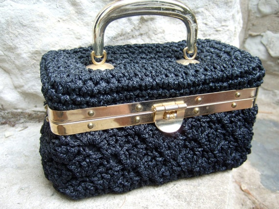 RESERVED SALE PENDINGVintage Black Knit Gilt Trim Box Bag Hand Made in Italy