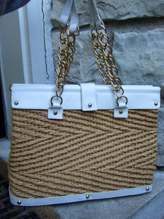 Vintage Woven Straw Rope Tote Bag  c 1980s