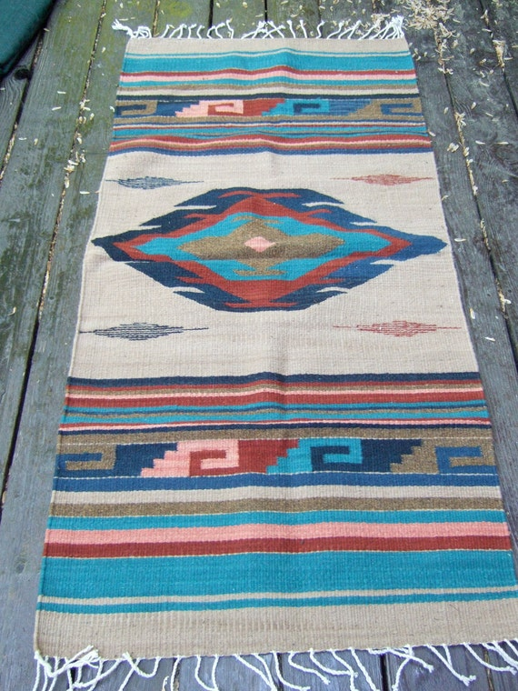 Vintage American Indian Style Throw rug Made in Mexico