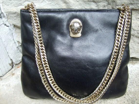 Sleek 1970s Black Leather Gilt Chain Bag