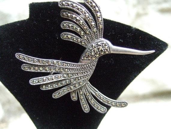 Vintage Sterling Marcasite Bird Brooch