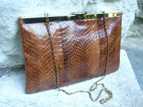 Vintage Snakeskin Brown Clutch with Strap