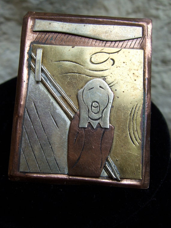 "Vintage Metal Edward Munch Style ""Scream"" Brooch"
