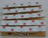 Set of  5 Blue and Red Mod Decorative Clothespins