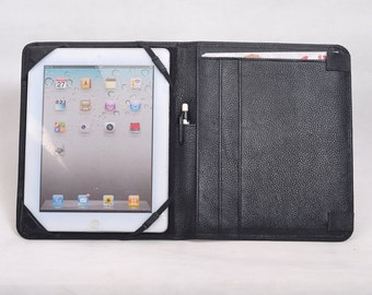 Item No: 2002 Top grain leather simple and portable portfolio & iPad case for iPad1,iPad2,iPad3 in Black