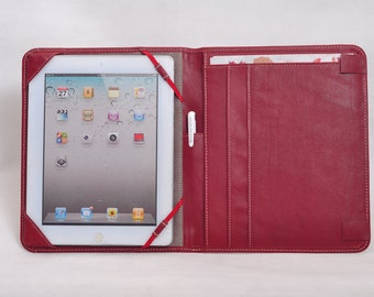 Item No: 2004 Smooth genuine leather simple and portable portfolio & iPad case for iPad1,iPad2,iPad3 in wine red