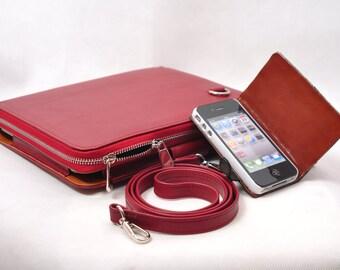 Customerized Leather iPad case or handbag as your portfolio for your iPad 1 iPad 2 ,ipad 4 ,ipad air2 ipad mini or ipad pro 9.7'' in red