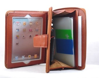 Item No.: 8000 Top-level genuine leather portfolio & iPad case for iPad1,iPad2,iPad3 in Brown