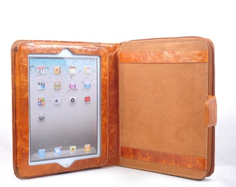 Genuine leather iPad portfolio  iPad air portfolio ipad pro 9.7 folio  or for your iPad 1 or iPad 2 in Orange