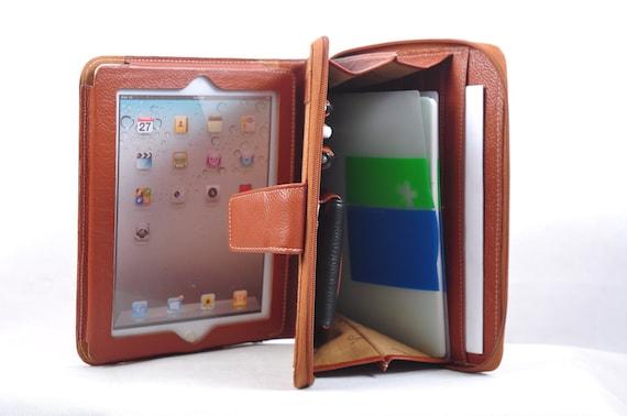 Genuine leather iPad portfolio and iPad case for your iPad 1 or iPad 2 in brown
