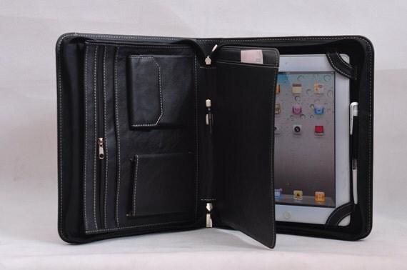 Item No.:4007 Multi-functional genuine smooth leather portfolio & iPad case iPad1,iPad2,iPad3 in Black