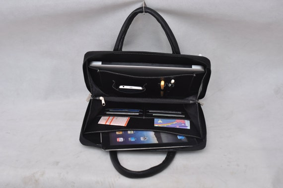 Item No.:Top leather portfolio handmade case & Macbook Air  bag and notebook ipad for  and iPad Air in Black